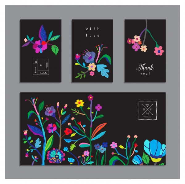 Black Cards with Flowers Vector (10 файлов)