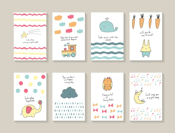 Cute Baby Shower Cards Vector (12 файлов)