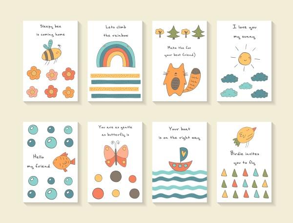 Cute Baby Shower Cards Vector (12 файлов)