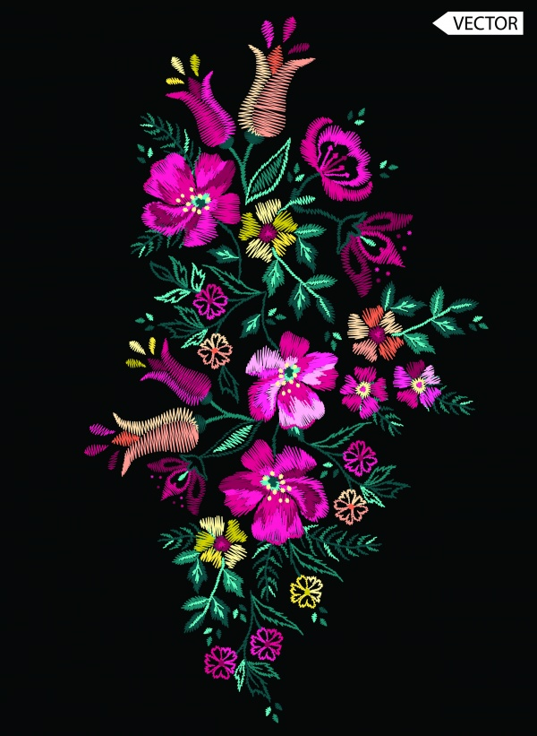 Embroidery Flower Design Vector (6 файлов)